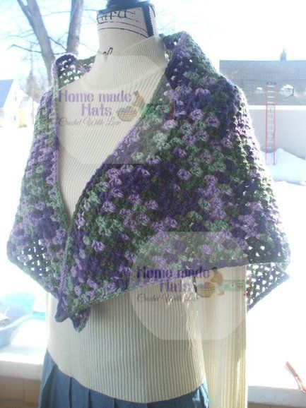 Free Crochet Pattern Simple V Stitch Shawl By Home Made Hats By