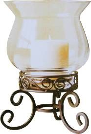 Glass Hurricane Candle Holder with Ornate Metal Pedestal