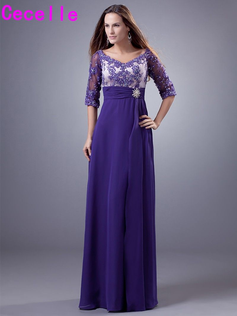2017 Real Purple Long Modest Bridesmaid Dresses With Half Sleeves A ...