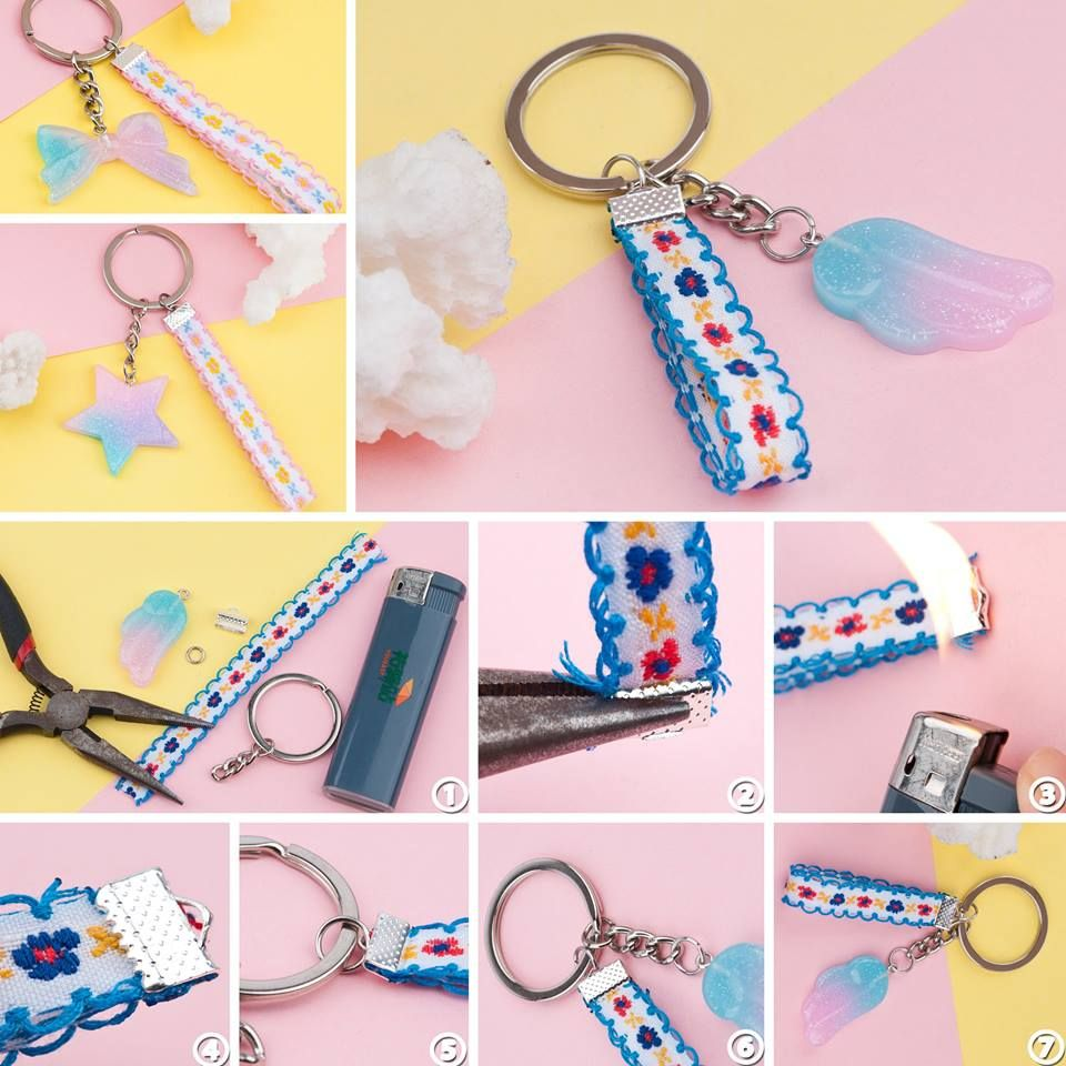 This step-by-step tutorial guides you to make this cute DIY Cotton Ribbon  Trim   Resin Pendants Keychain. This is a great DIY craft idea for teens. 99c6ada14