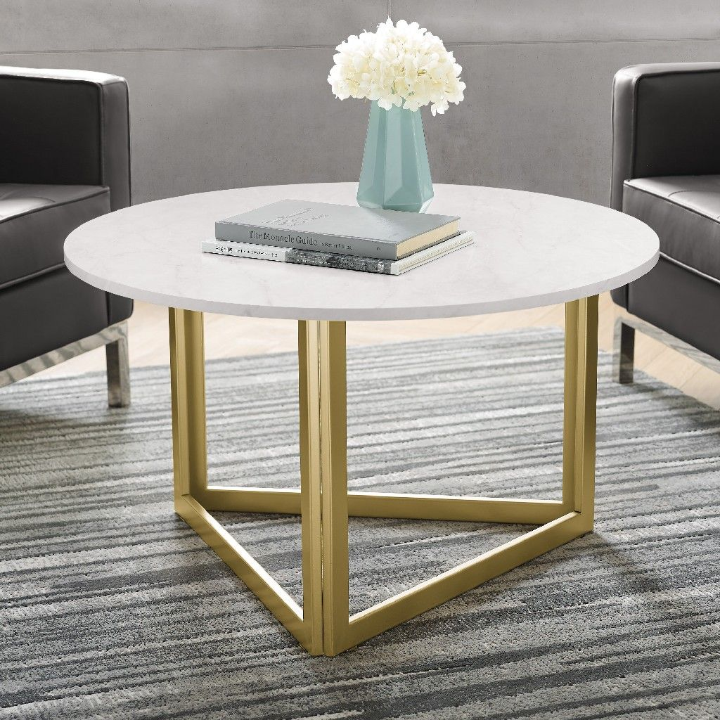 round white faux marble coffee table