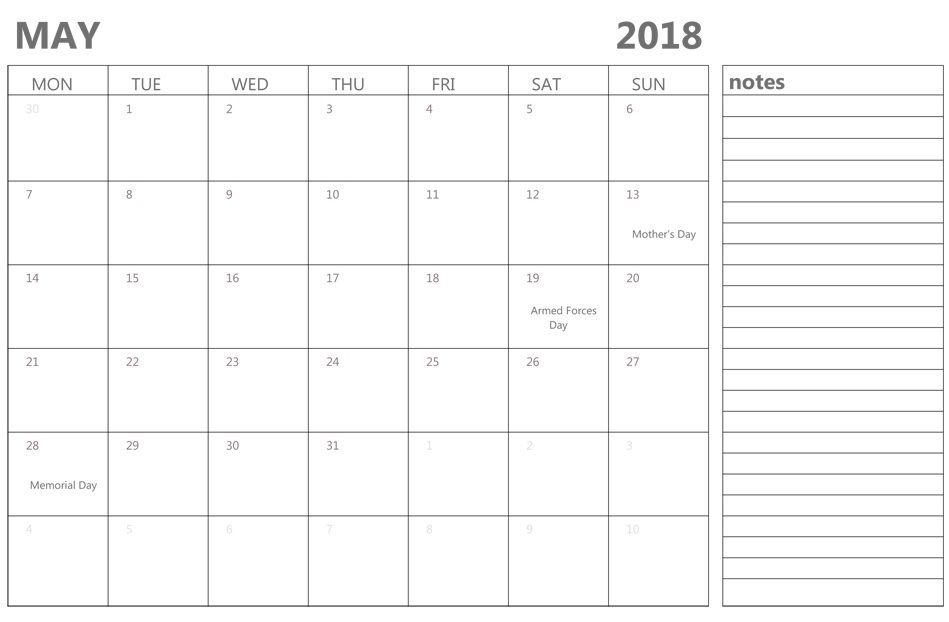 May 2018 Calendar Editable Calendar 2018 In 2018 Pinterest