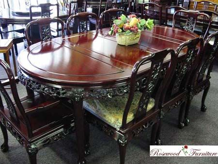 Rosewood Bird Flower Oval Dining Set Rosewood Dining Furniture