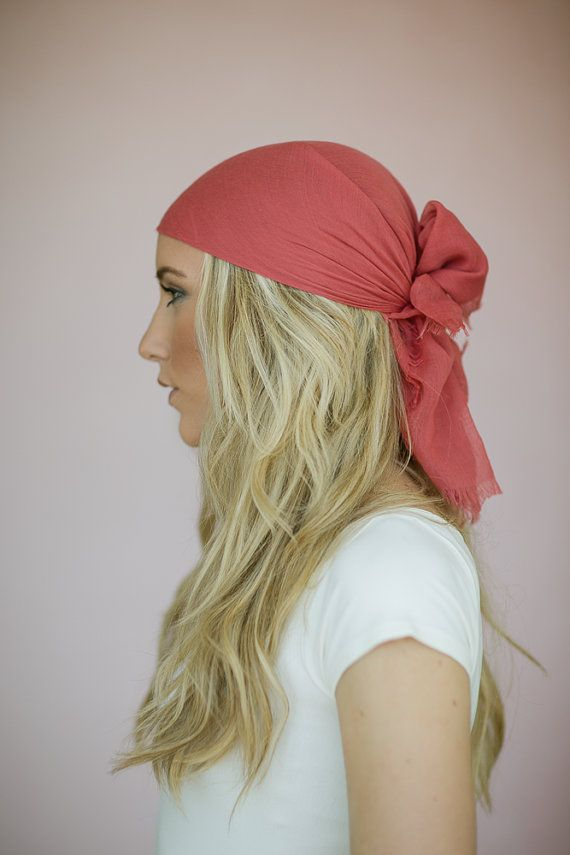 d4ab56199f8 Women s Bohemian Solid Tie On Style Headscarf or Hair Wrap with Frayed  Edges and Solid in Coral on Etsy