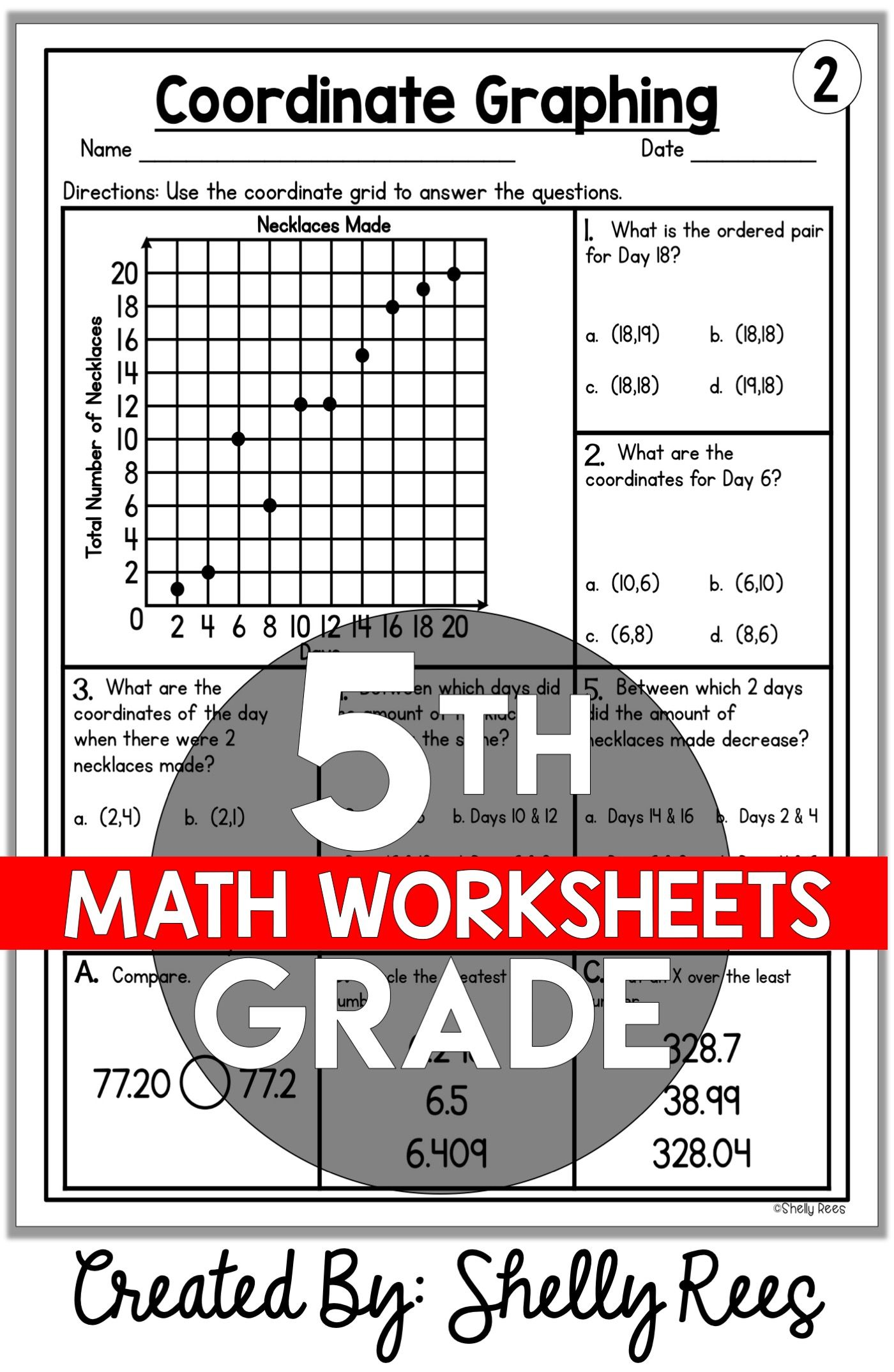 5th Grade Math Worksheets Free and Printable - Appletastic Learning   Math  review worksheets [ 2148 x 1400 Pixel ]
