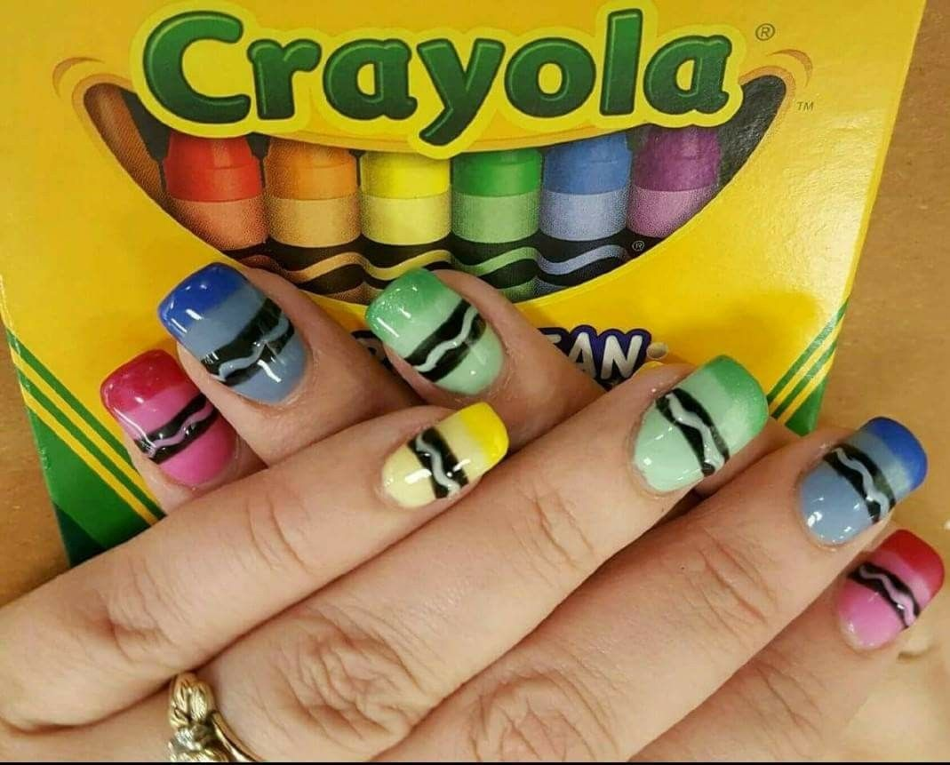 Crayon Nail Art Nail Art Pinterest School Nails Girls Nails