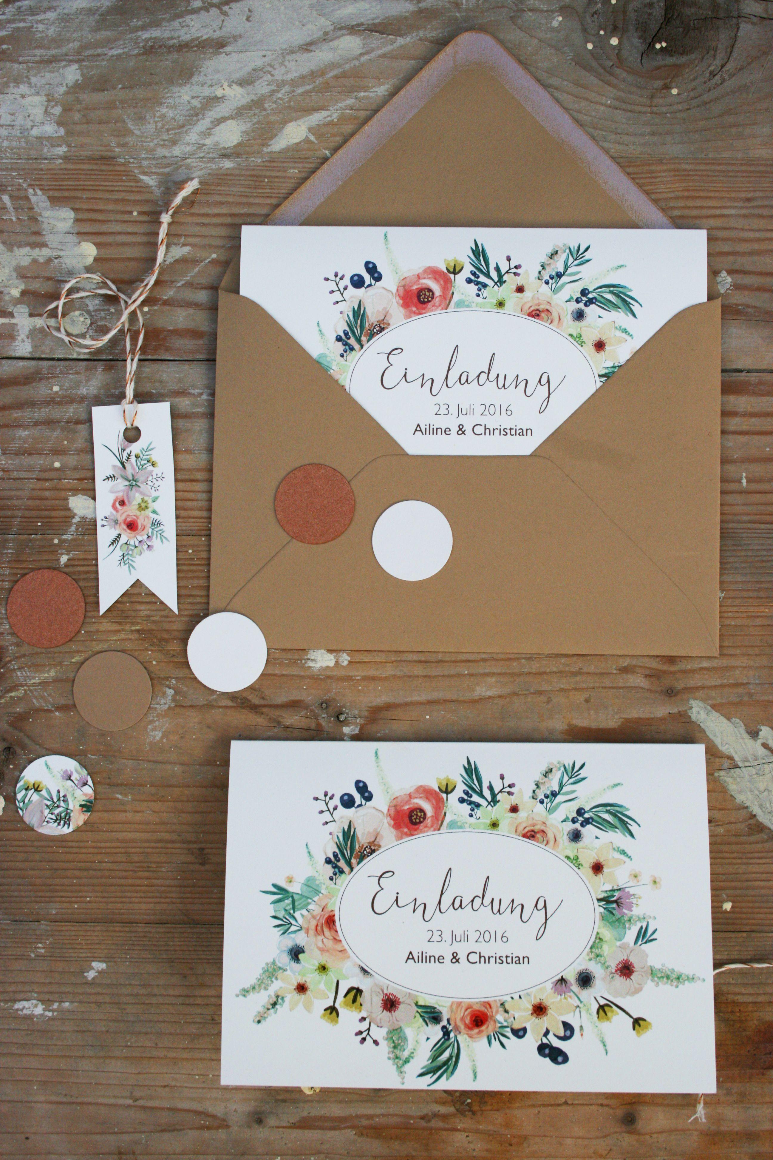 Hochzeitspapeterie Set Kraftpapier Wilde Blumen Hochzeit