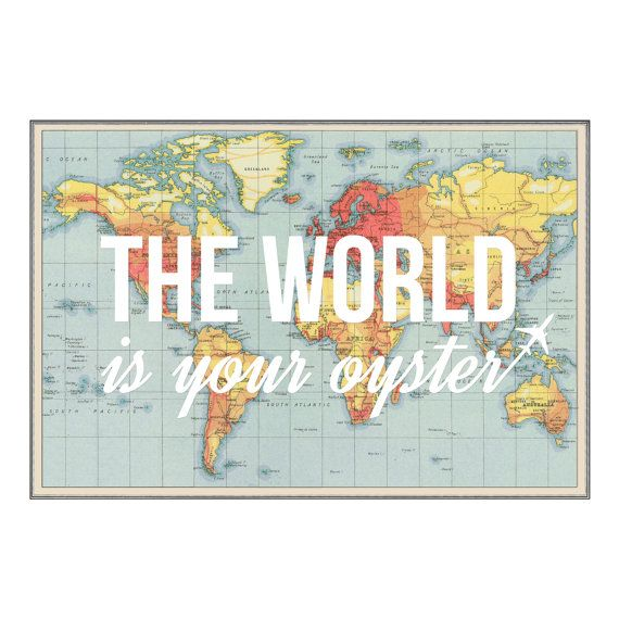 The world is your oyster world map world map print poster map of the world is your oyster world map world map print poster map gumiabroncs Gallery
