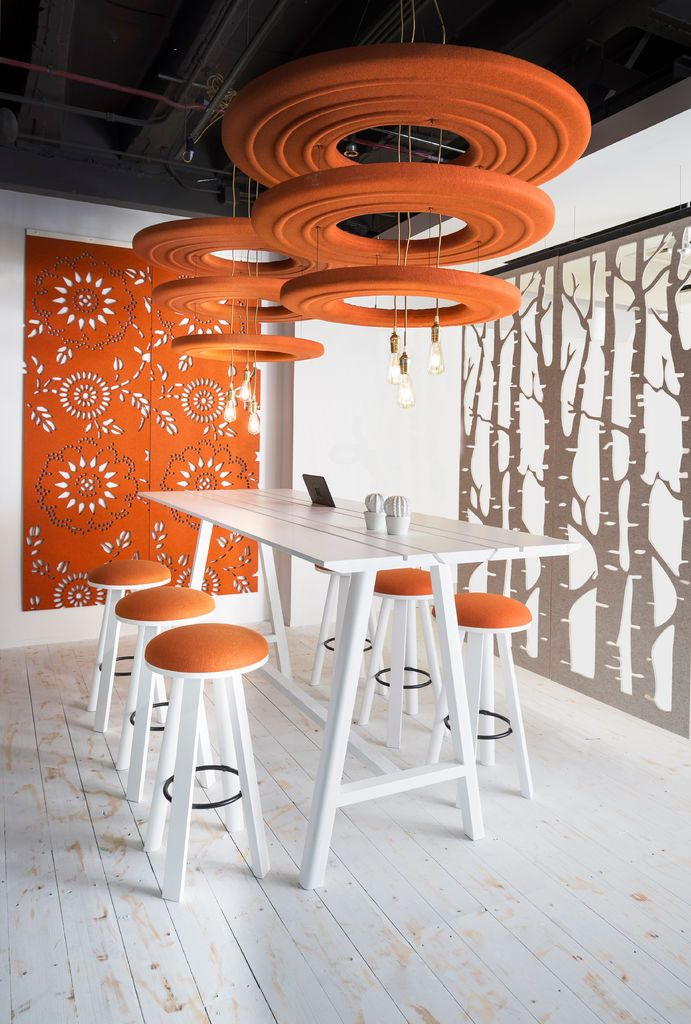 Orange Office, Hanging Room Dividers