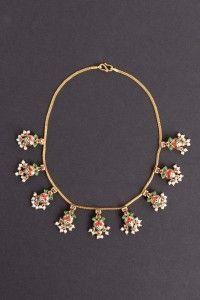 Navaratna Necklace. Gold, policrom enamel, precious stones. India. Late XIX century