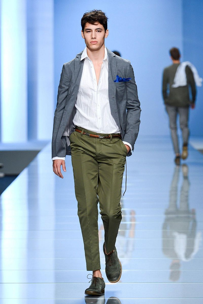 Men's Grey Blazer, White Long Sleeve Shirt, Olive Dress Pants ...