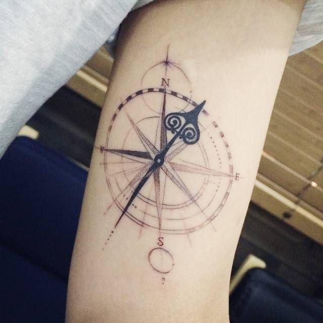 Compass tattoo on the left inner arm. Tattoo... - Little ...