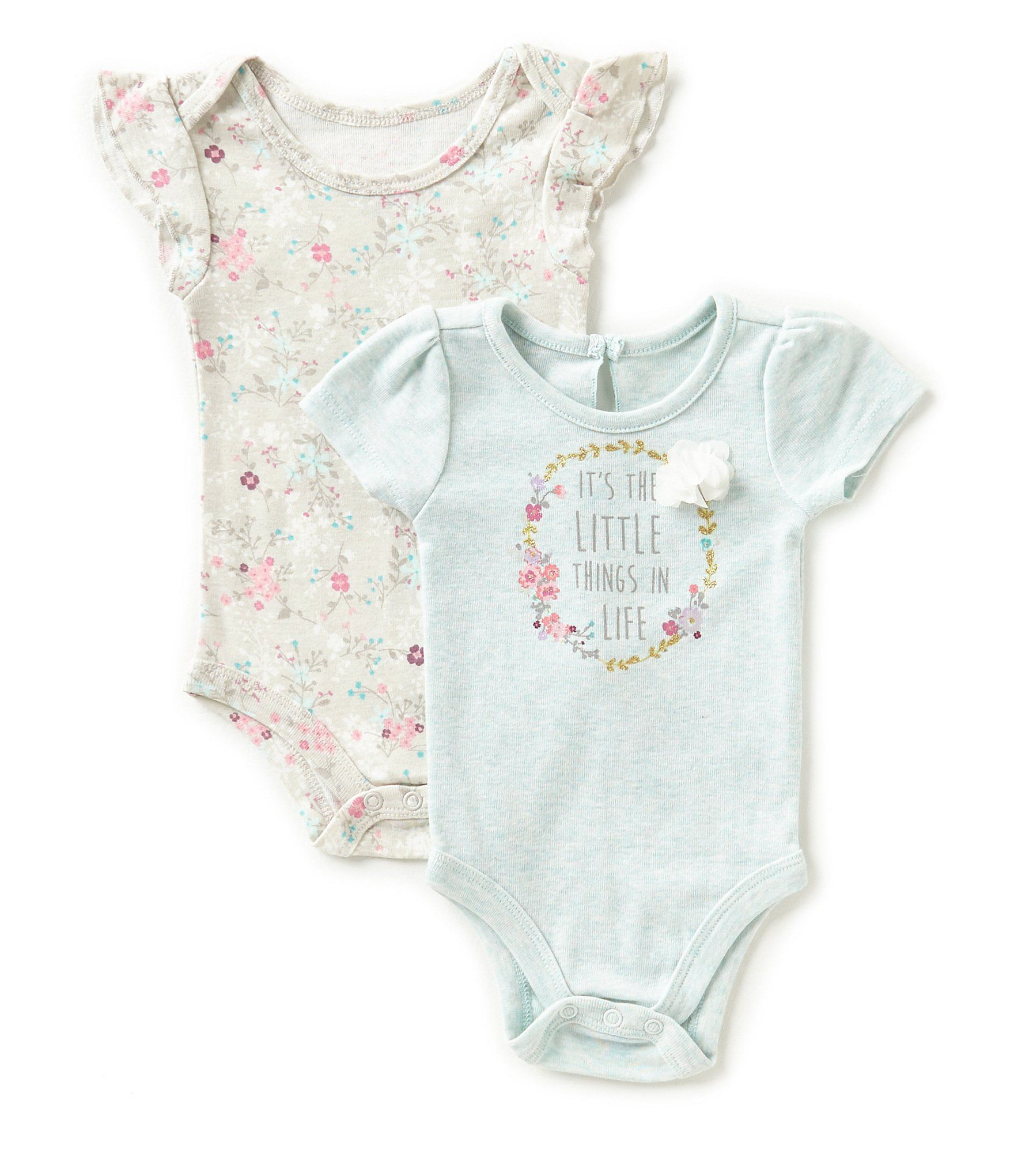 Baby Starters Baby Girls 3 12 Months Floral Cap Sleeve Bodysuit Two