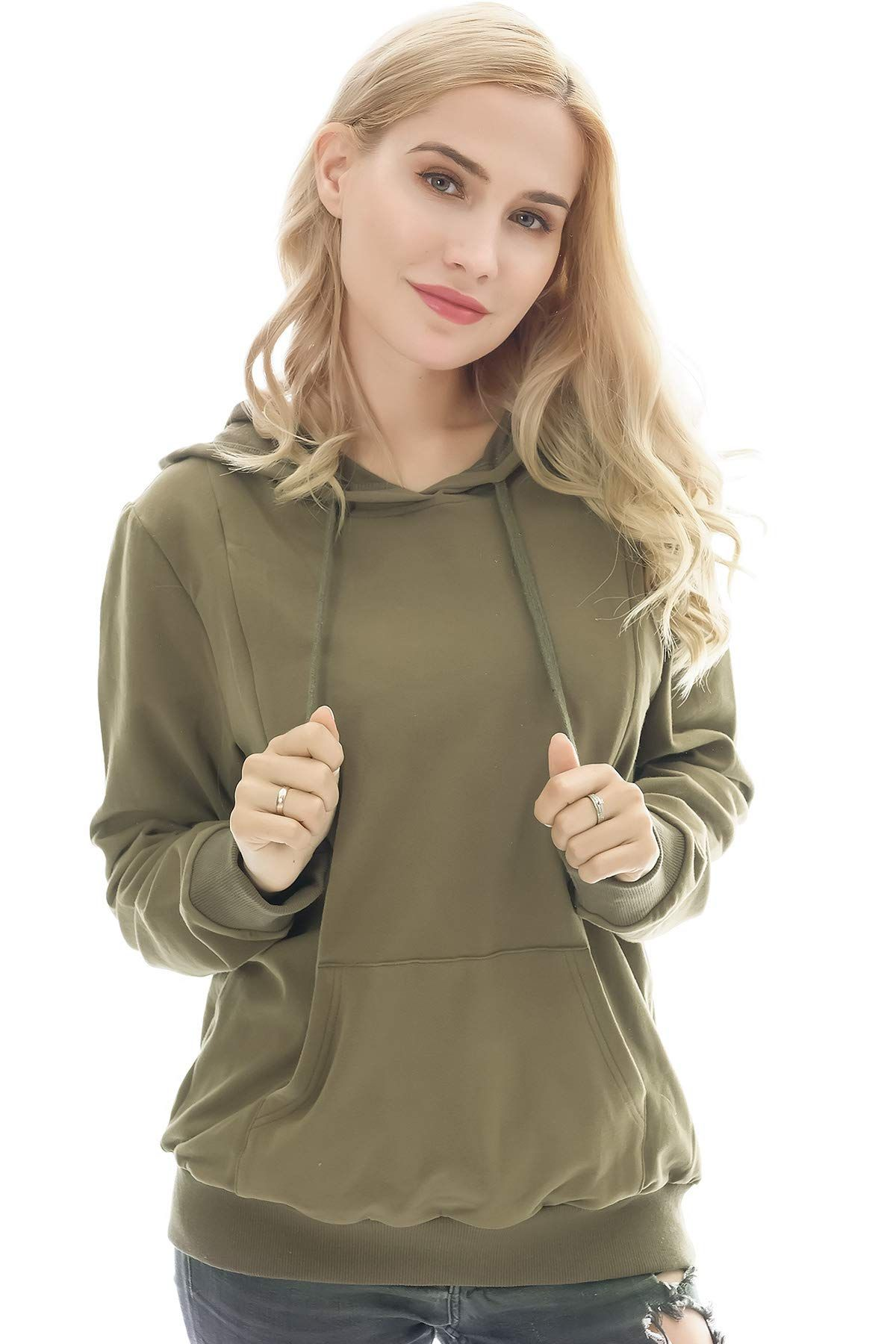 40ef3abe53bec Bearsland Womens Maternity Winter Sporty Hoodie Breastfeeding Sweater  Nursing TopArmyGreenL *** For more information, visit image link.