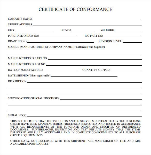 Certificate Of Conformance Template 9 Templates Example Templates Example Certificate Templates Templates Printable Certificates