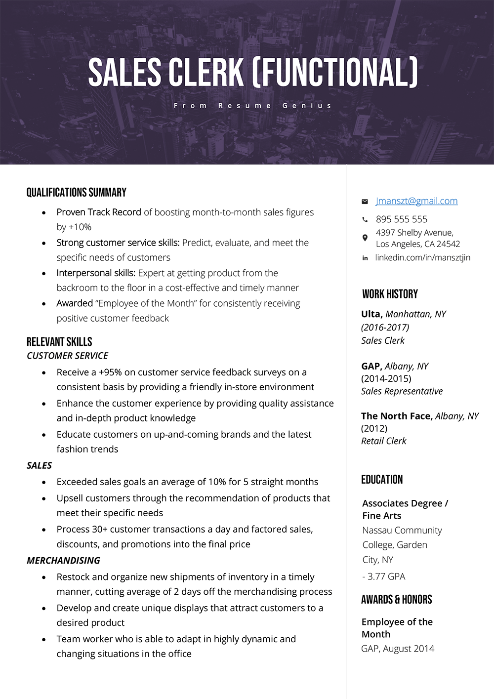 Functional Resume Template, Examples & Writing Guide in
