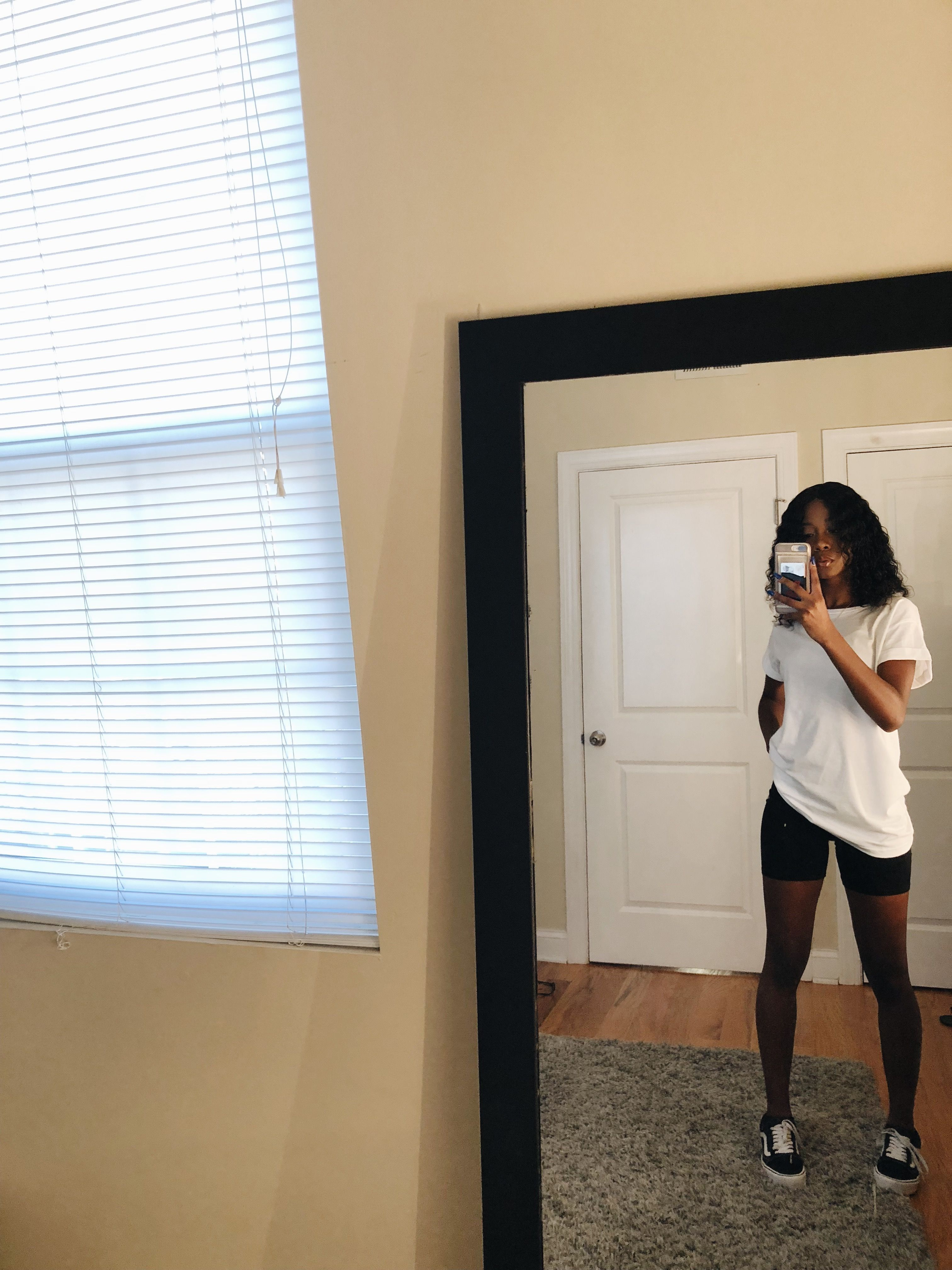Simple vans outfit oversized white shirt biker shorts outfit