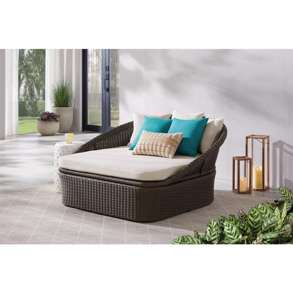 gray wicker outdoor patio daybed with