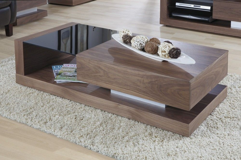 Jual furnishings cube coffee table in walnut jf613ct for Glass cube coffee table