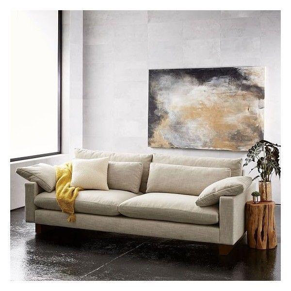 West Elm Harmony Grand 92 Sofa Chunky Basketweave Granite Featuring Polyvore Home Furniture