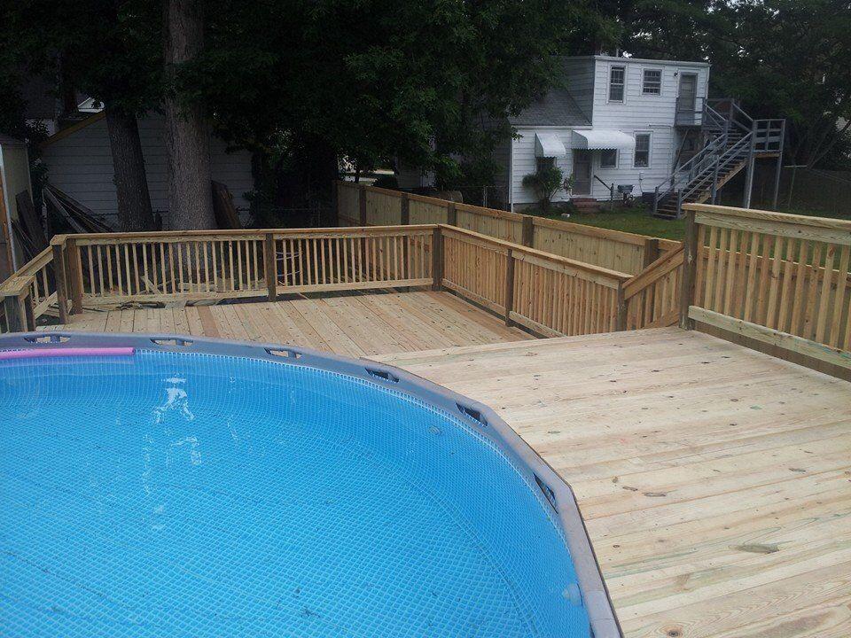 Bi-level pool deck | Pool and decks | Cool pools, Deck, Outdoor