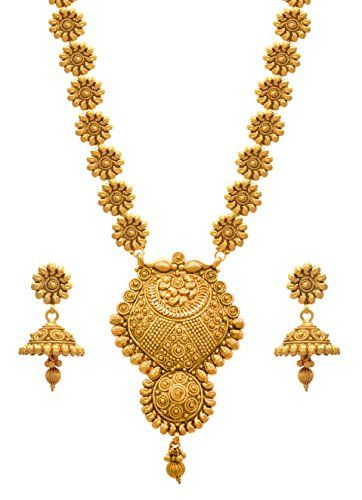 d4ca4058c71 JFL Traditional Ethnic One Gram Gold Plated Floral Designer Long Necklace  Set for Girls and Women >>> Click image to review more details.