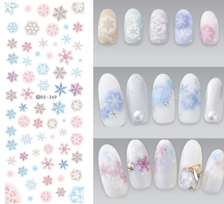 DS369 DIY Design Water Transfer Nails Art Sticker Colorful Snowflake ...