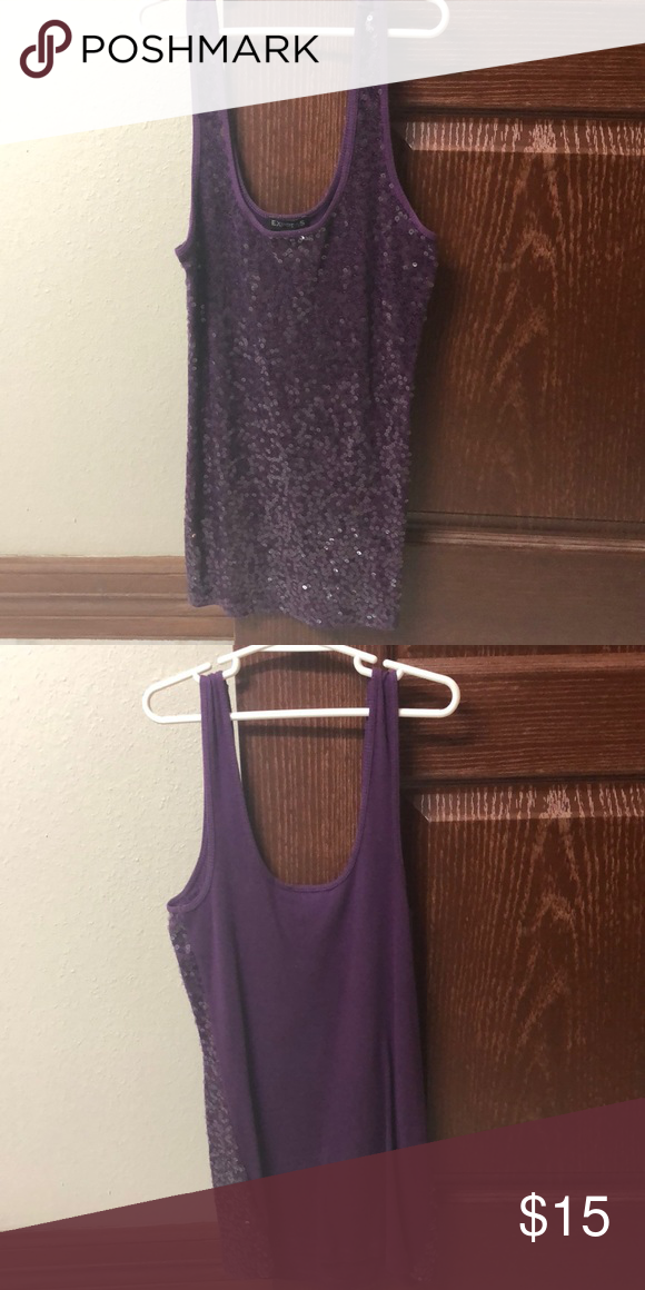 Express Purple Sequined Top