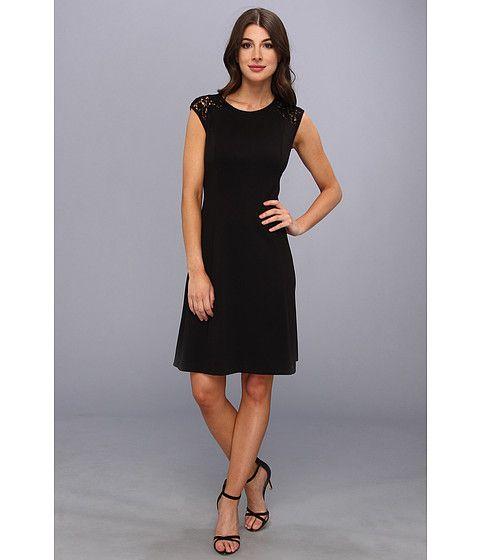 Calvin Klein Ponte Cap Sleeve Dress W Lace 6pm My Style