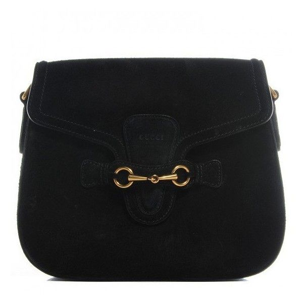 e2e50d83d8c GUCCI Suede Lady Web Shoulder Bag Black ❤ liked on Polyvore featuring bags