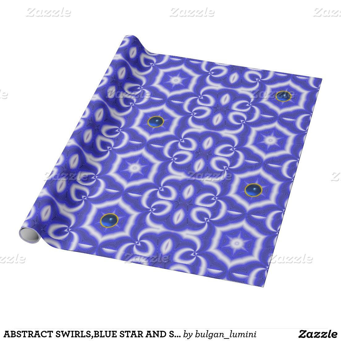 ABSTRACT SWIRLS,BLUE STAR AND SAPPHIRE GEMSTONE WRAPPING PAPER