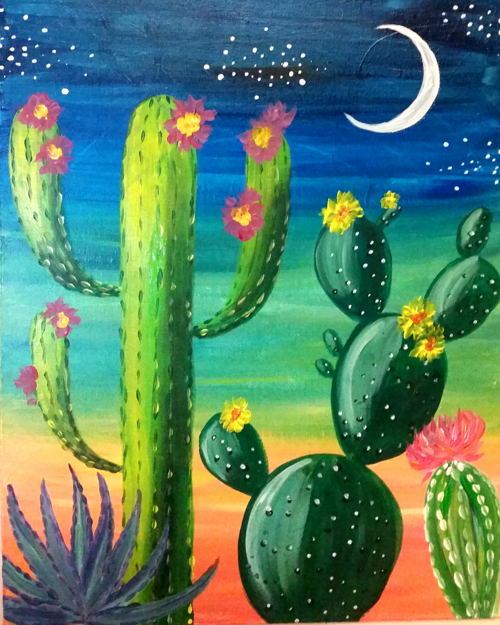Colorful Cactus Sunset Friday Sept 9 7pm