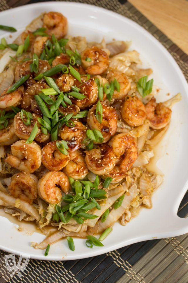 Spicy Shrimp + Napa Cabbage Stir-Fry #cabbagestirfry