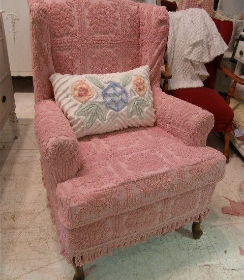 shabby chic wingback chair slipcovered with pink vintage chenille ...