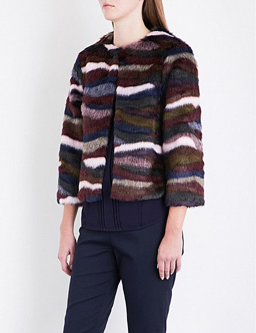 eee39c515044 TED BAKER Robarla abstract striped faux-fur jacket