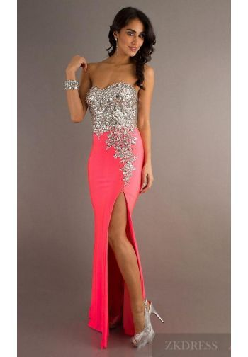 Cute Sweetheart Red Elastic woven satin Sleeveless Prom Dresses ...