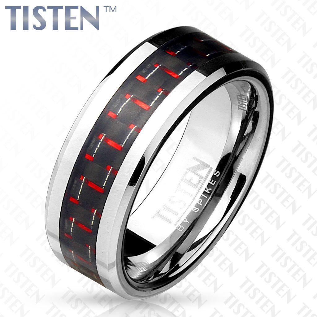 8mm Black and Red Carbon Fiber Inlay Tisten (Tungsten