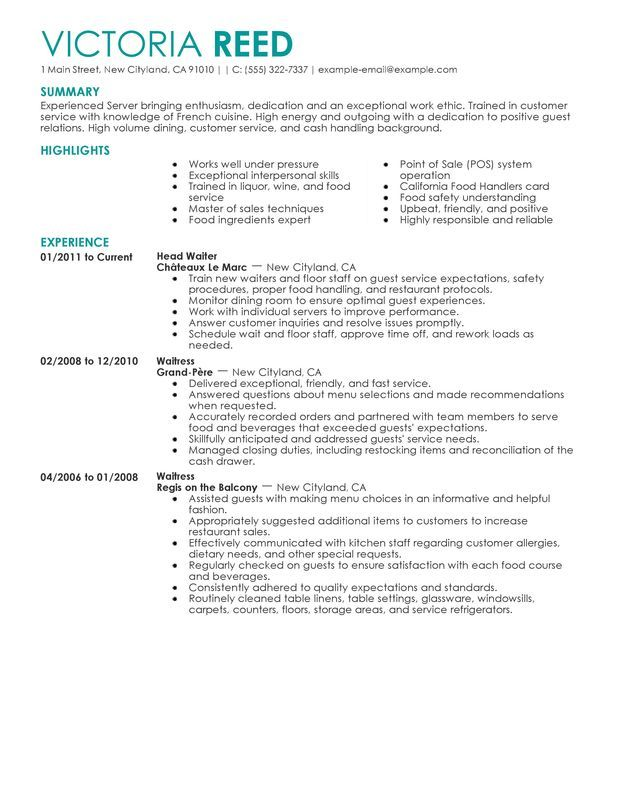 Server Resume Sample resume Pinterest Sample resume, Resume - restaurant server resume examples