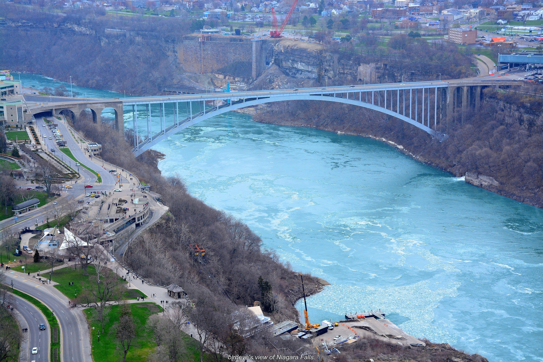 Bridge Connecting Canada To Usa Niagara Falls Shot From Skylon Tower 520 Feet Above Sea Level