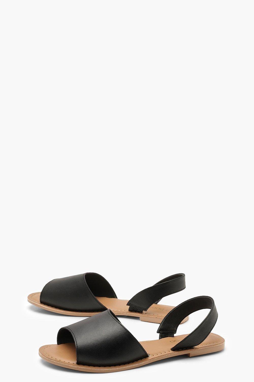 Part Peeptoe Leather Sandals   boohoo