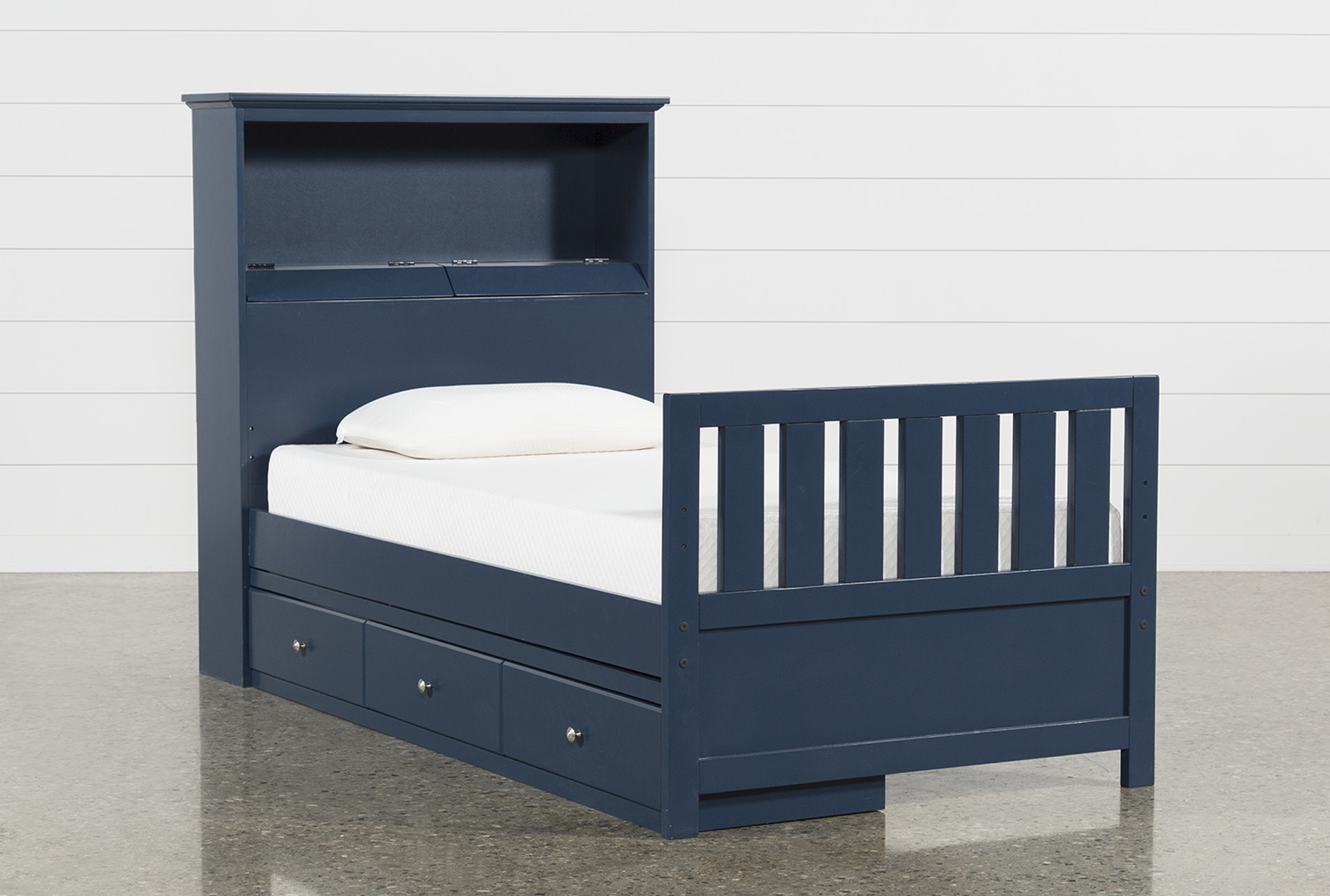 Twin Bookcase Bed with Single 3Drawer Storage and USB