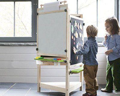 Tri-Side Kids Art Easel - Chalkboard, Felt & Dry Erase