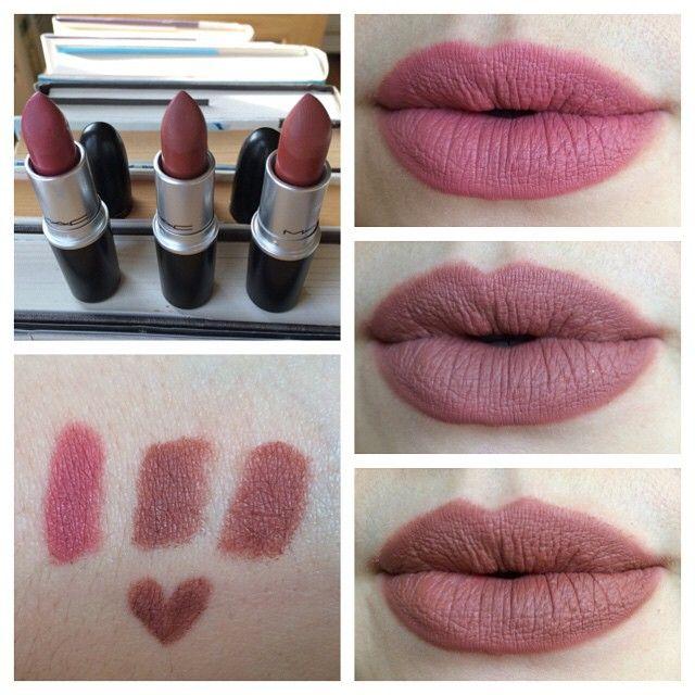 MAC matte lipsticks in Mehr, Whirl (center), and ...
