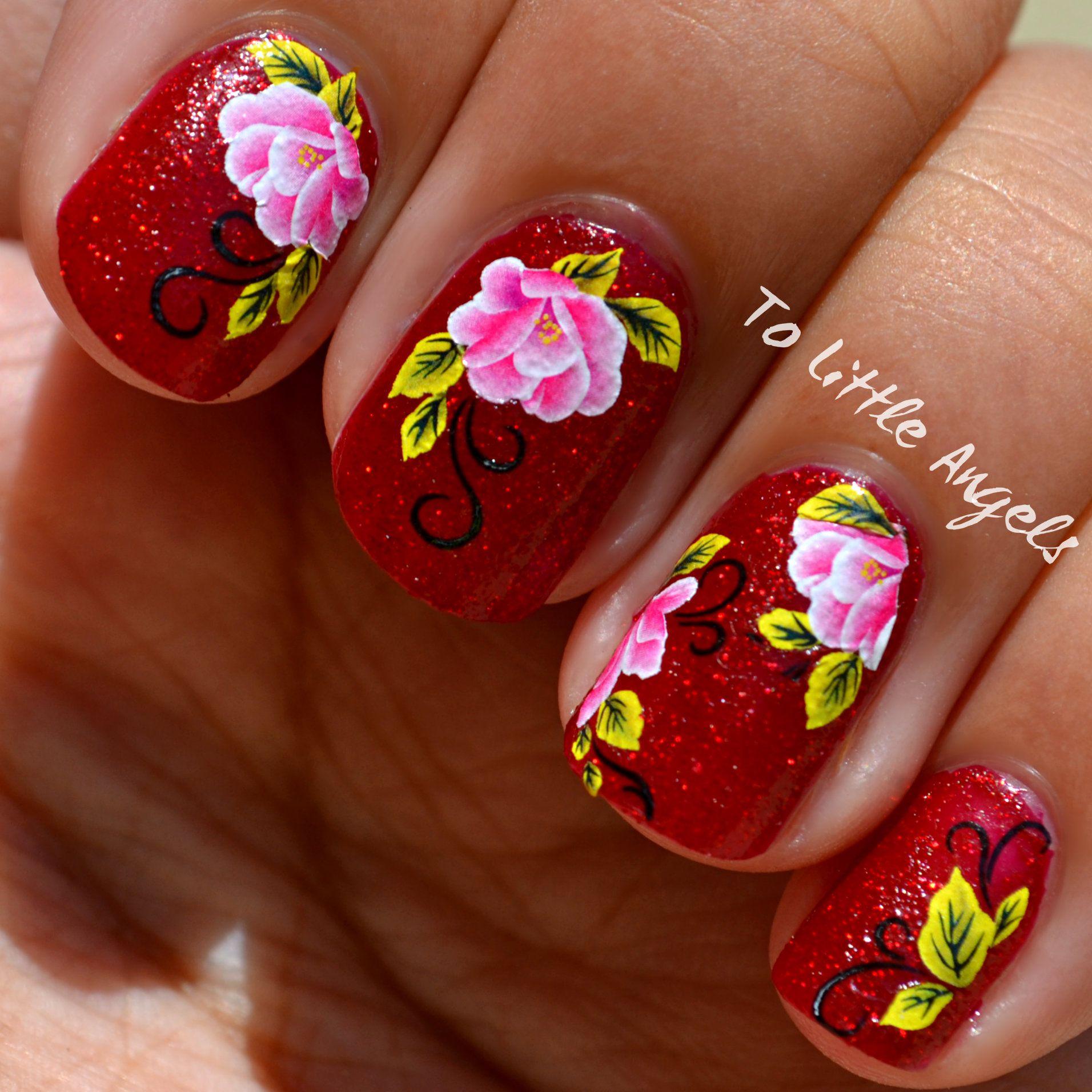 Beautiful Pink Flower Nail Sticker China Glaze Red Nail Polish