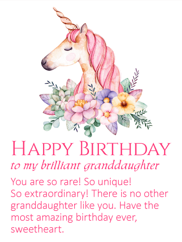 to my brilliant granddaughter happy birthday wishes card an elegant unicorn has come to wish your granddaughter an amazing birthday