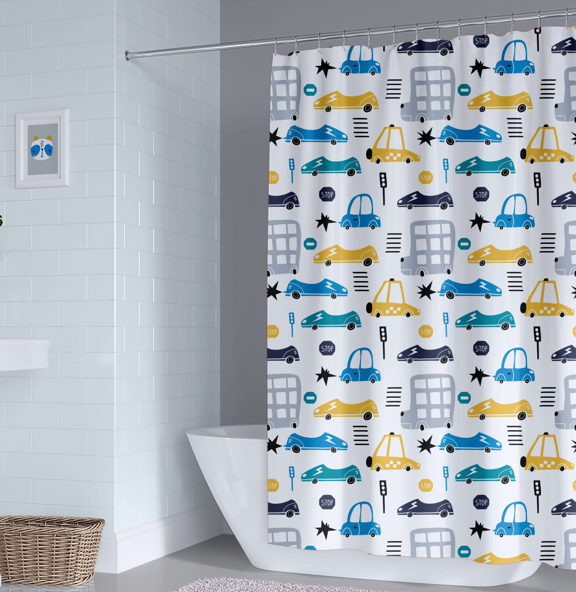 Transportation Kids Shower Curtain Boy Shower Curtain Cars Shower Curtain Unisex Bathroom Decor Toddler Boy Cars