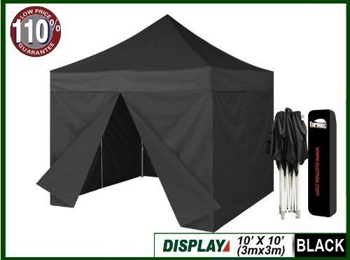 10 X 10 Eurmax Black Ez Pop up Canopy Tent Commercial Instant Gazebos + 4 Zippered Sides and Dust Cover & Eurmax 10x10 Pop up Canopy With Sidewalls Party Tent Gazebo ...