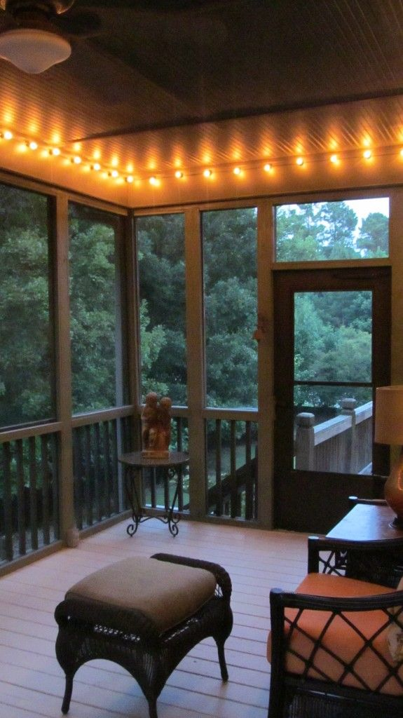 Screened porch makeover small changes new look home for Front porch lighting ideas