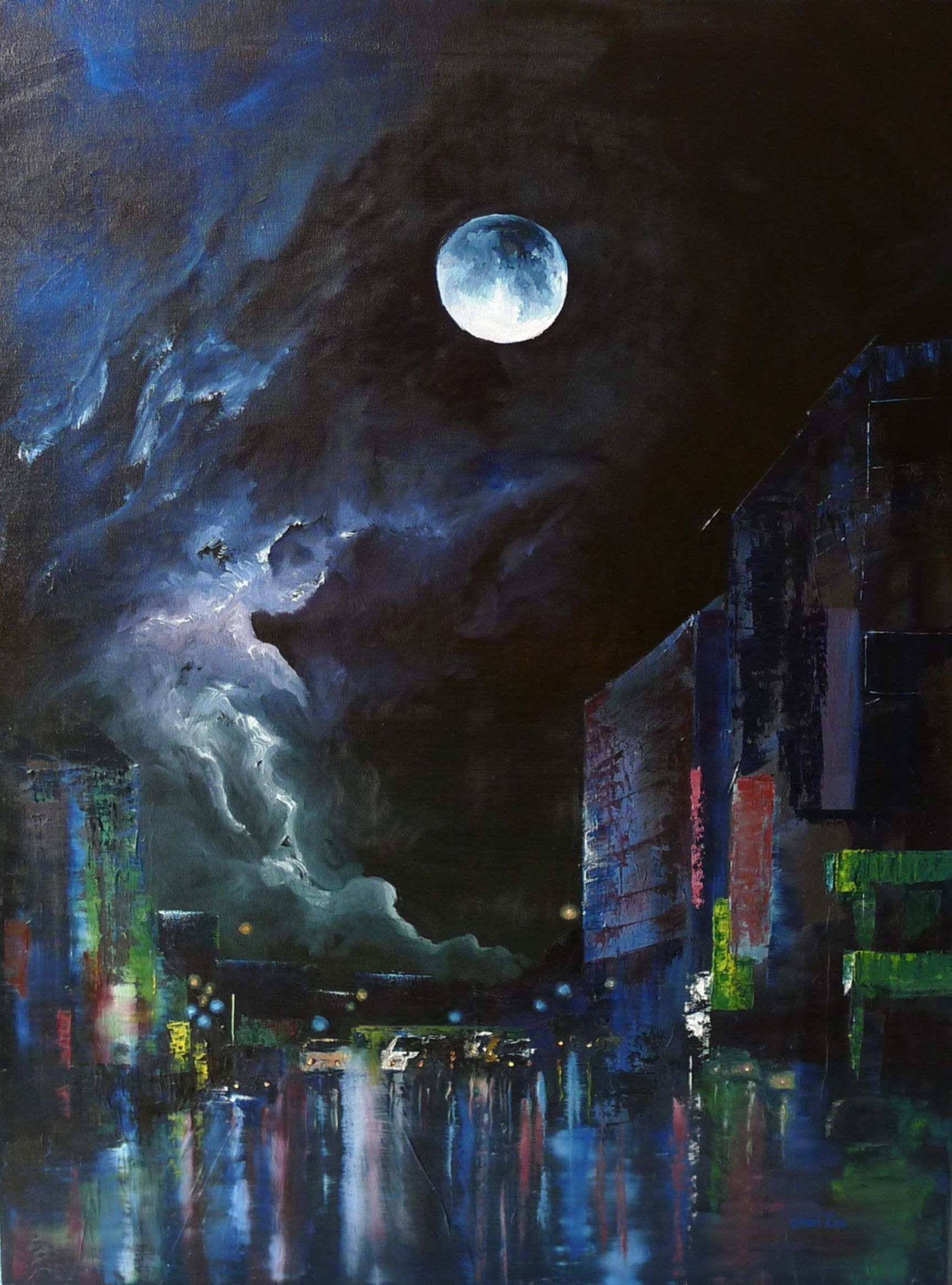 Cityscape At Night Original Oil Painting By Vicci Lee City Painting Night Sky Painting Sky Painting
