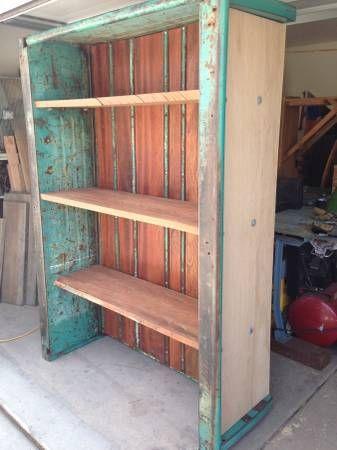 Vintage Repurposed Truck Bed Bookcase Media Center Vintage